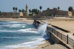 La playa en Caesarea Fotos de archivo libres de regalías