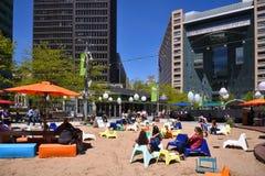 La playa en el campus Martius en Detroit Imagen de archivo libre de regalías