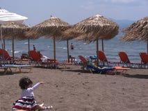 La playa en Skala Kalloni Lesvos Grecia Imágenes de archivo libres de regalías