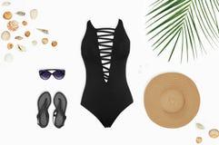 La playa femenina complementa Imagen de archivo libre de regalías