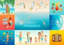 La playa fijó con conceptos de bucear, de practicar surf, de viaje y de otros stock de ilustración