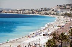 La playa francesa de riviera Niza Francia Imagen de archivo