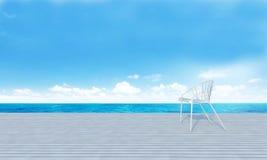 La playa gandulea con el sundeck en la opinión del mar para las vacaciones y summer-3 Fotos de archivo libres de regalías