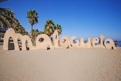 La playa pública en Málaga, España Fotos de archivo libres de regalías