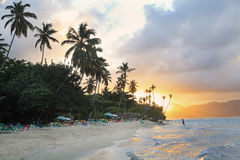 La Playta Tropical beautiful beach at sunset, Dominican Republic Royalty Free Stock Photo