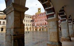 La plaza Alta e torre di Espantaperros a Badajoz, Estremadura, Spagna Fotografia Stock Libera da Diritti
