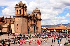 La Plaza de Armas in Cusco. Festival activities in La Plaza de Armas in Cusco Peru Stock Photo