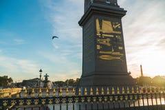 La plaza de la Concordia bajo puesta del sol de París foto de archivo libre de regalías
