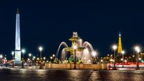 La plaza de la Concordia en la noche Fotos de archivo libres de regalías