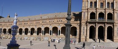 La plaza de Espana en Sevilla en Andalucía España Fotografía de archivo libre de regalías