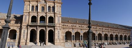La plaza de Espana en Sevilla en Andalucía España Imágenes de archivo libres de regalías