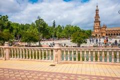 La plaza de Espania ? un quadrato situato nel parco in Siviglia ha costruito nel 1928 immagini stock libere da diritti