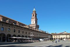 La plaza Ducale en Vigevano, Italia foto de archivo libre de regalías