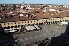 La plaza Ducale en Vigevano, Italia imagen de archivo