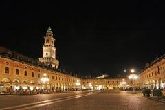La plaza Ducale en Vigevano, Italia fotos de archivo