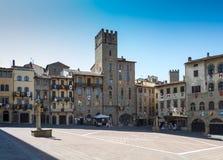 La plaza grande de Arezzo Fotografía de archivo libre de regalías