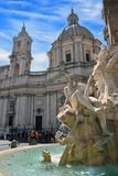 La plaza Navona, Roma, la fuente diseñó por G L bernini Foto de archivo libre de regalías
