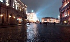 La Plaza Roja, Moscú, pronto el Año Nuevo Imagen de archivo libre de regalías