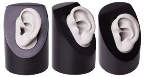 La pleine coquille de prothèse auditive d'isolement Le choix du soin d'audition de prothèse auditive Oreille en plastique Accesso images stock