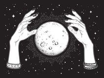 La pleine lune tirée par la main avec des rayons de lumière dans des mains de schéma et point diseur de bonne aventure fonctionne illustration stock