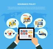 La póliza de seguro mantiene concepto Imagen de archivo
