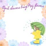 La pluie Brings peut des fleurs Illustration Stock
