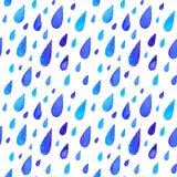 La pluie peinte par aquarelle laisse tomber le modèle sans couture Photographie stock libre de droits