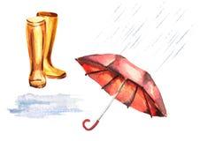 La pluie a placé avec le parapluie, bottes en caoutchouc, magma, gouttes de pluie Image stock