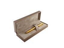 La pluma con da la caja Imagen de archivo libre de regalías