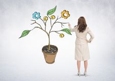 La pluma de tenencia de la mujer y el dibujo de los gráficos de negocio en la planta ramifica en la pared Fotos de archivo