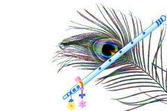 La pluma del pavo real y el fondo blanco del overg de la flauta con el texto copian el espacio Imagen de archivo libre de regalías