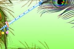 La pluma del pavo real y el overg de la flauta ponen verde el fondo con el espacio de la copia del texto Fotos de archivo