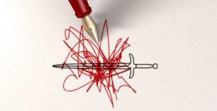 La pluma es más poderosa que la espada Imágenes de archivo libres de regalías
