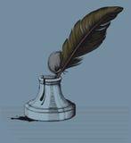 La pluma pasada de moda de la tinta y una mancha blanca /negra Imágenes de archivo libres de regalías
