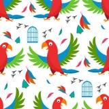La plume tropicale de modèle de perroquet d'oiseau de cellules de vecteur d'illustration d'animal sauvage de faune mignonne sans  illustration stock