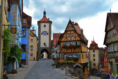 La plupart de vue célèbre de der Tauber d'ob de Rothenburg Image libre de droits