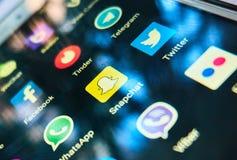 La plupart des apps sociaux tendants de media Image libre de droits