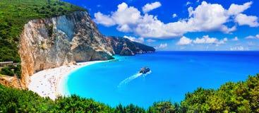 La plupart des belles plages des séries de la Grèce - Porto Katsiki dans Lefka photographie stock libre de droits