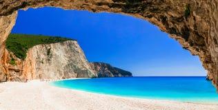 La plupart des belles plages des séries de la Grèce - Porto Katsiki dans Lefka photos stock