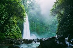 La plus grande cascade avec un écoulement puissant et la rivière dans Bali, Indone images stock