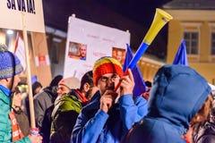 2017 - La plus grande protestation d'anti-corruption de Roumains en quelques décennies Photos libres de droits