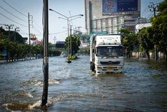 La plus mauvaise inondation de Bangkok en 2011 Image libre de droits