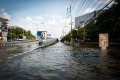 La plus mauvaise inondation de Bangkok en 2011 Photo libre de droits