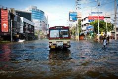La plus mauvaise inondation de Bangkok en 2011 Image stock