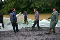 La plus mauvaise inondation sur le disque à travers les Balkans en Serbie Photos stock