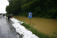 La plus mauvaise inondation sur le disque à travers les Balkans en Serbie Photographie stock