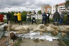 La plus mauvaise inondation sur le disque à travers les Balkans en Serbie Photo libre de droits