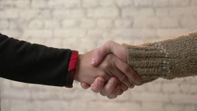 La poignée de main, main africaine serre la main européenne Unification des nations, différents peuples, égalité, Commonwealth banque de vidéos