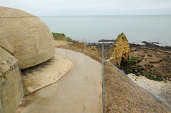 La Pointe du Hoc in Criqueville sur Mer in Normandie Stock Photography