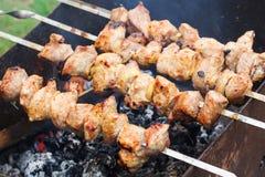 La poitrine crue fraîche de viande de filet sur des brochettes grillent tout entier le brazie Photographie stock libre de droits